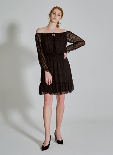 People By Fabrika Carmen Yaka Tül Elbise Siyah